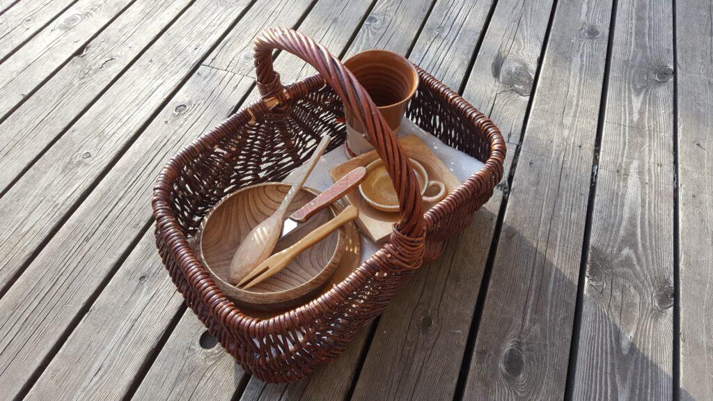 Basket with feast gear in it